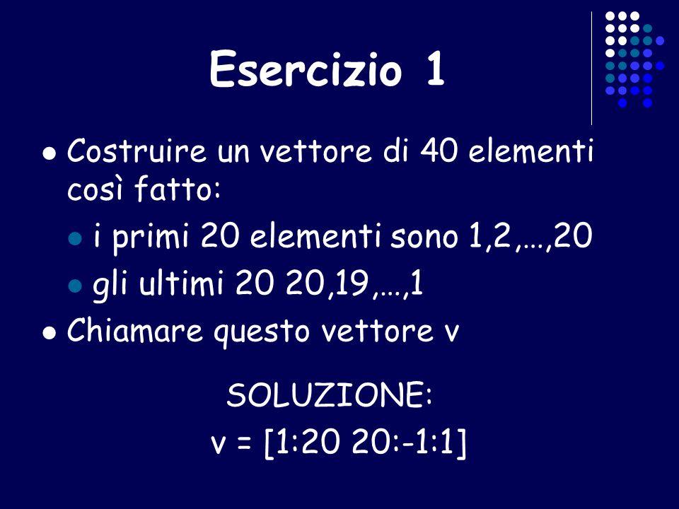 Esercizio 1 i primi 20 elementi sono 1,2,…,20 gli ultimi 20 20,19,…,1