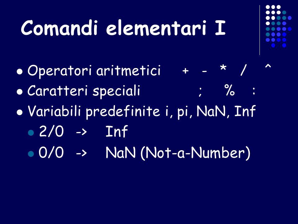 Comandi elementari I 2/0 -> Inf 0/0 -> NaN (Not-a-Number)