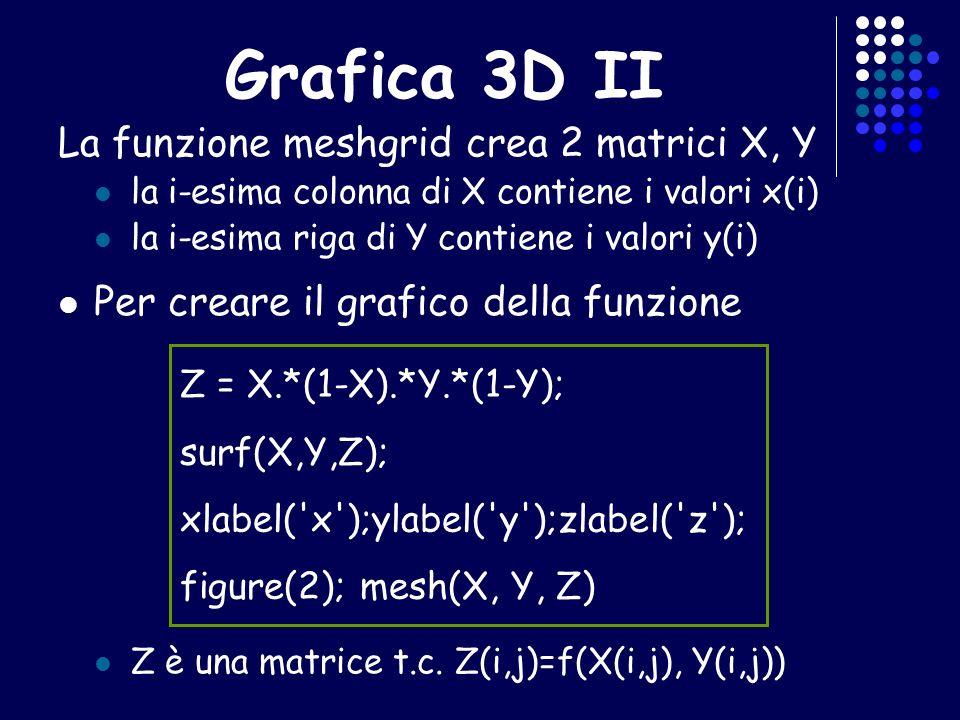 Grafica 3D II La funzione meshgrid crea 2 matrici X, Y