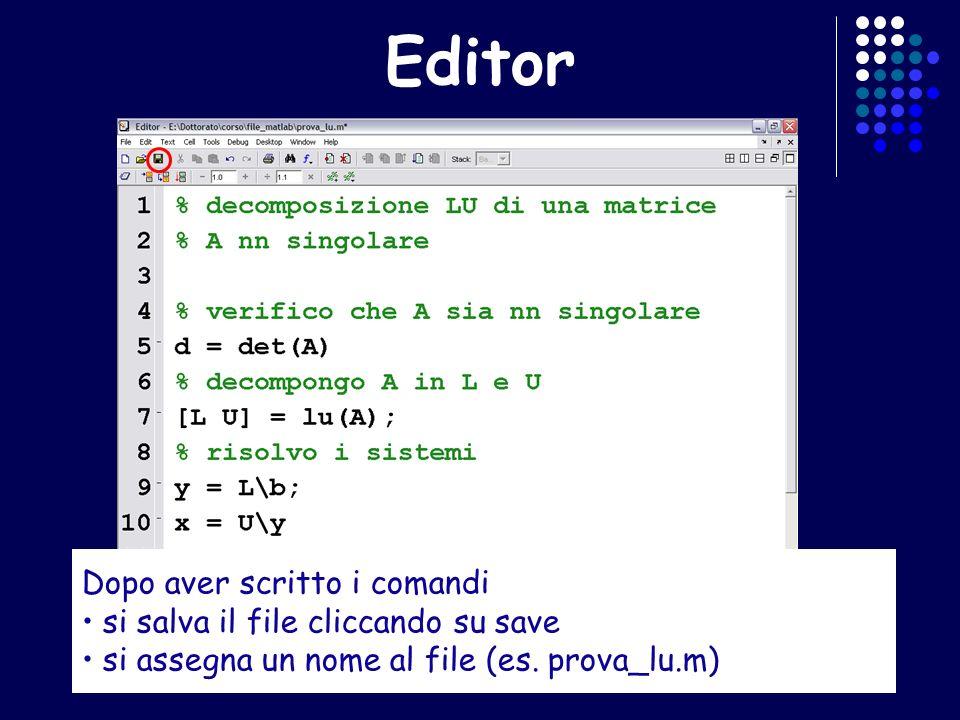 Editor Dopo aver scritto i comandi si salva il file cliccando su save