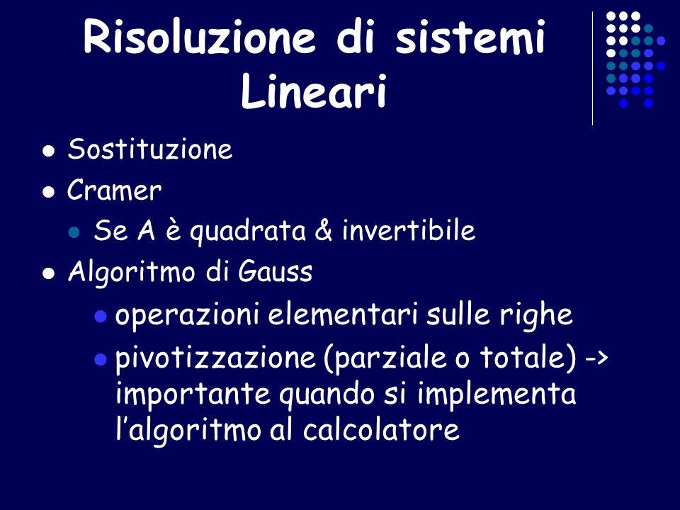 Risoluzione di sistemi Lineari