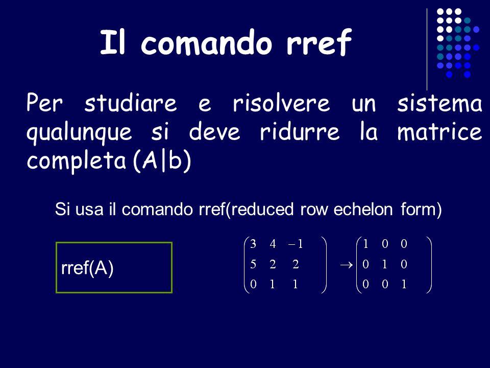 Il comando rref Per studiare e risolvere un sistema qualunque si deve ridurre la matrice completa (A|b)