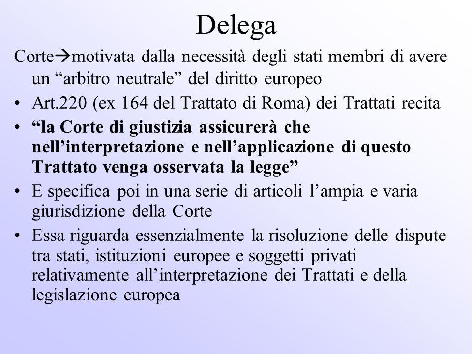 Delega Cortemotivata dalla necessità degli stati membri di avere un arbitro neutrale del diritto europeo.