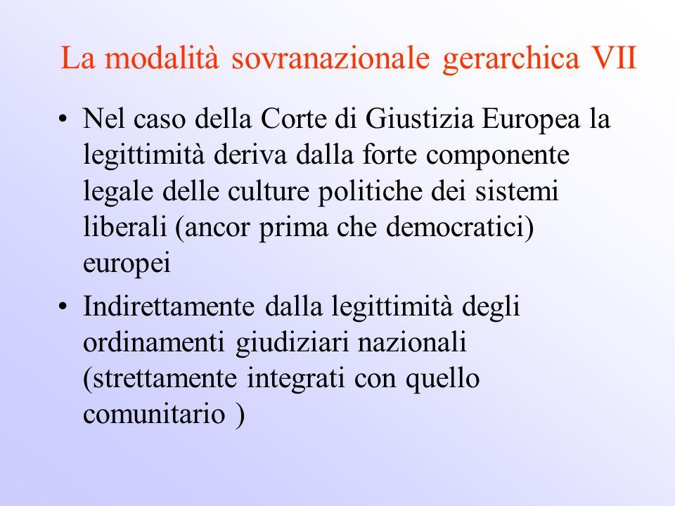La modalità sovranazionale gerarchica VII