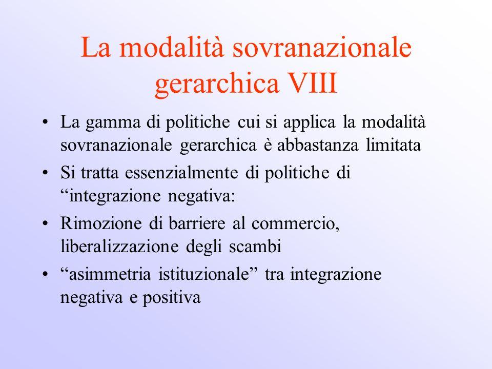 La modalità sovranazionale gerarchica VIII