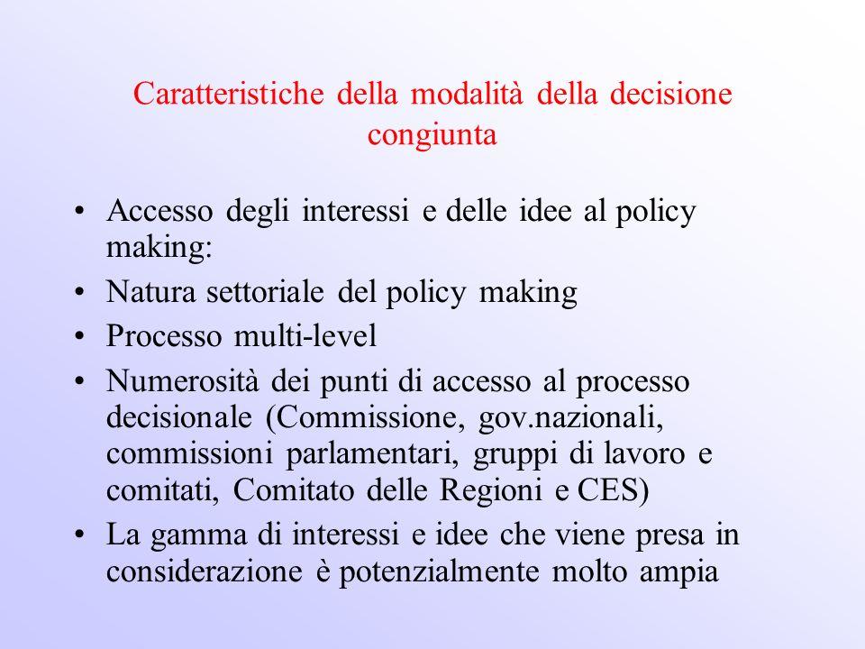 Caratteristiche della modalità della decisione congiunta
