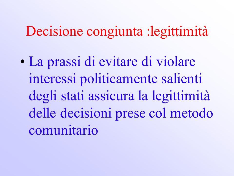 Decisione congiunta :legittimità