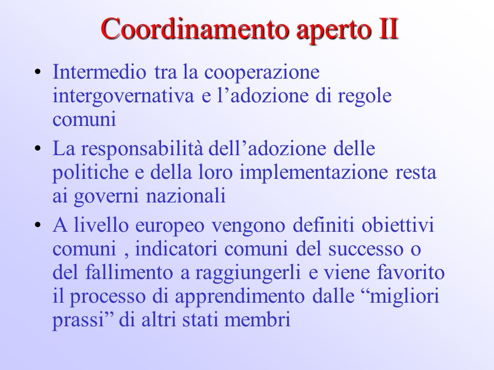 Coordinamento aperto II