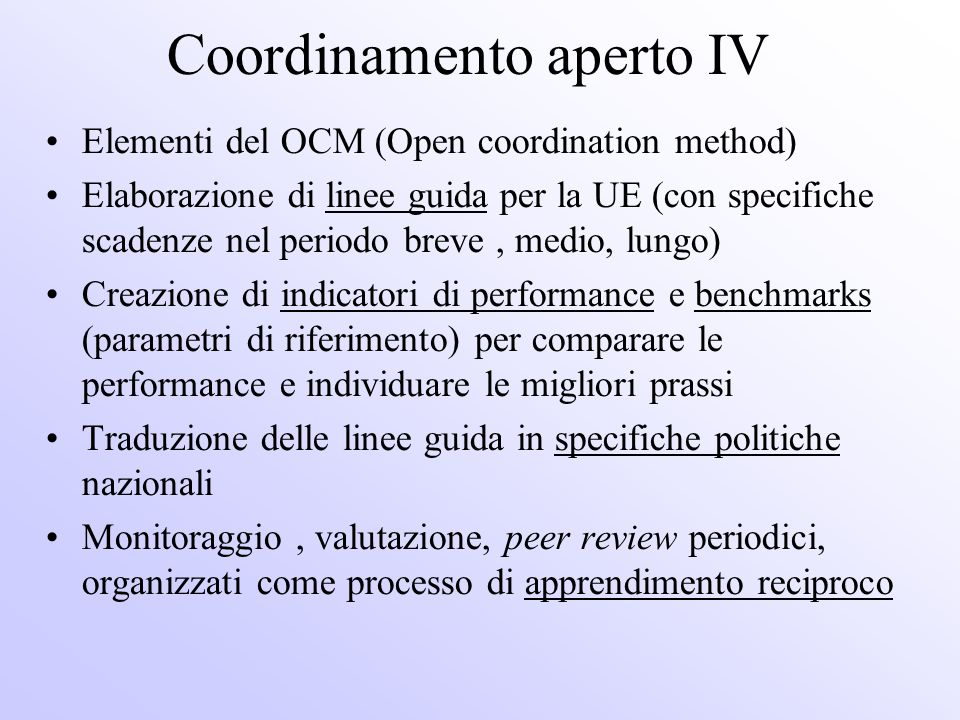 Coordinamento aperto IV