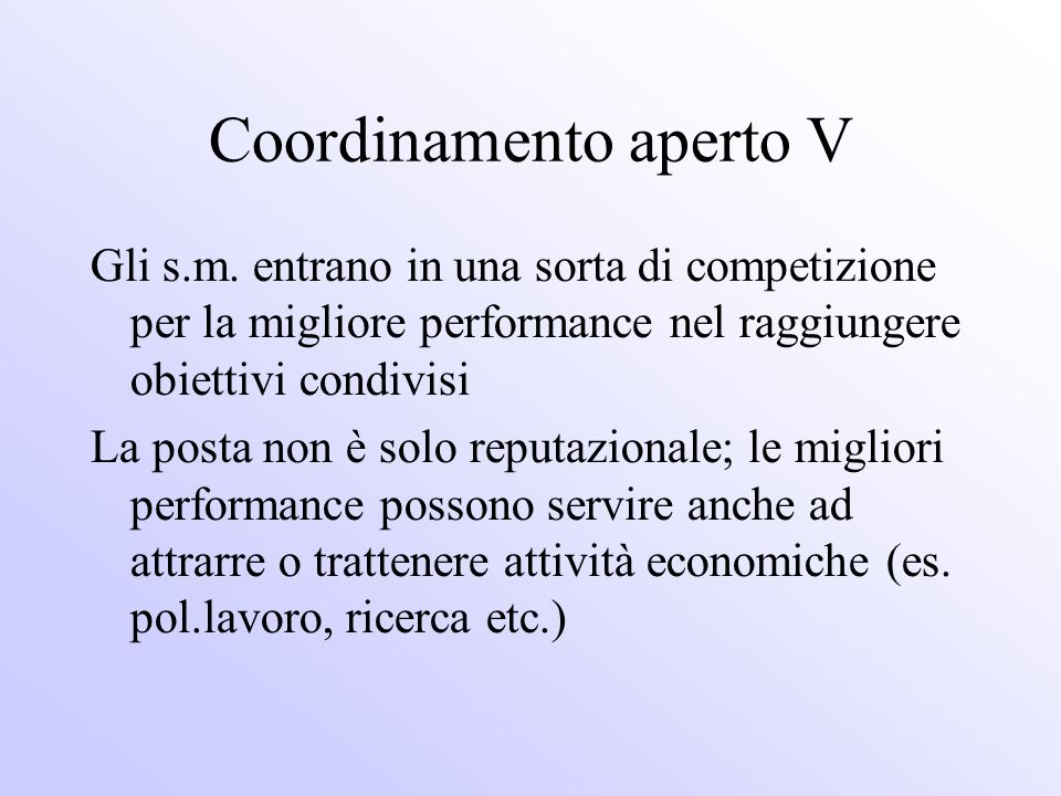 Coordinamento aperto V