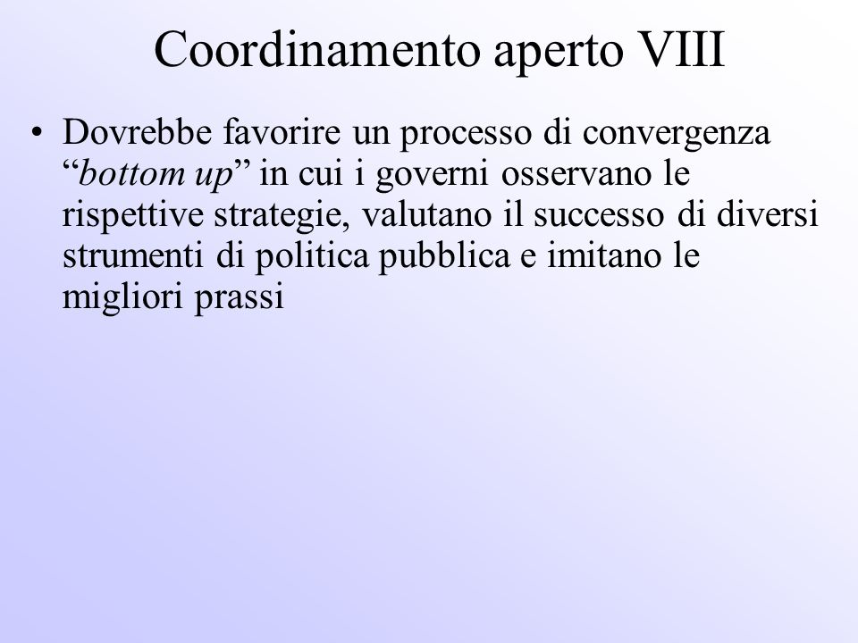 Coordinamento aperto VIII