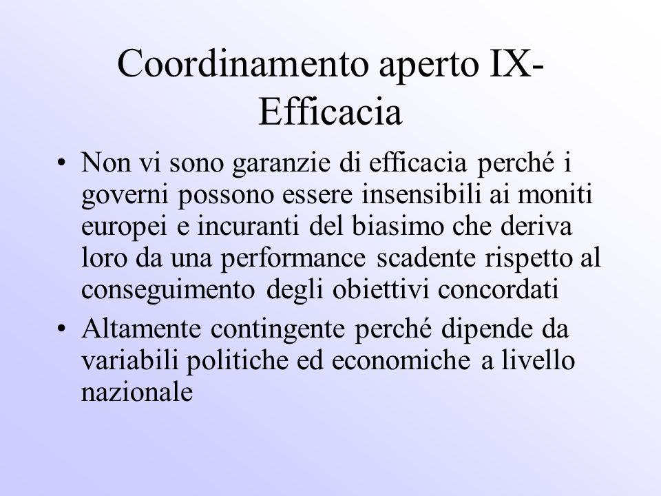 Coordinamento aperto IX-Efficacia