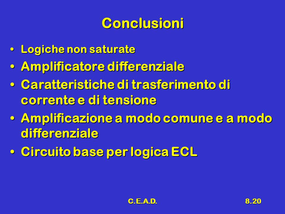 Conclusioni Amplificatore differenziale