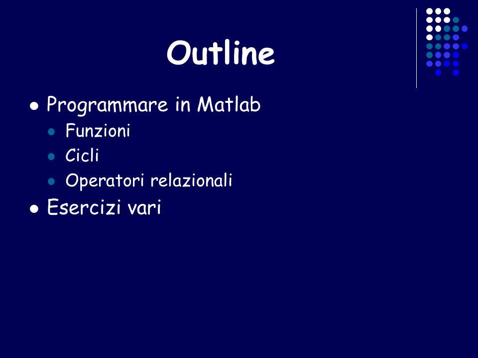 Outline Programmare in Matlab Esercizi vari Funzioni Cicli