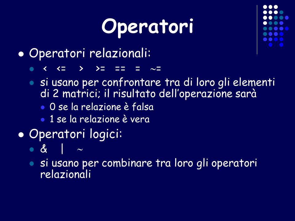 Operatori Operatori relazionali: Operatori logici: