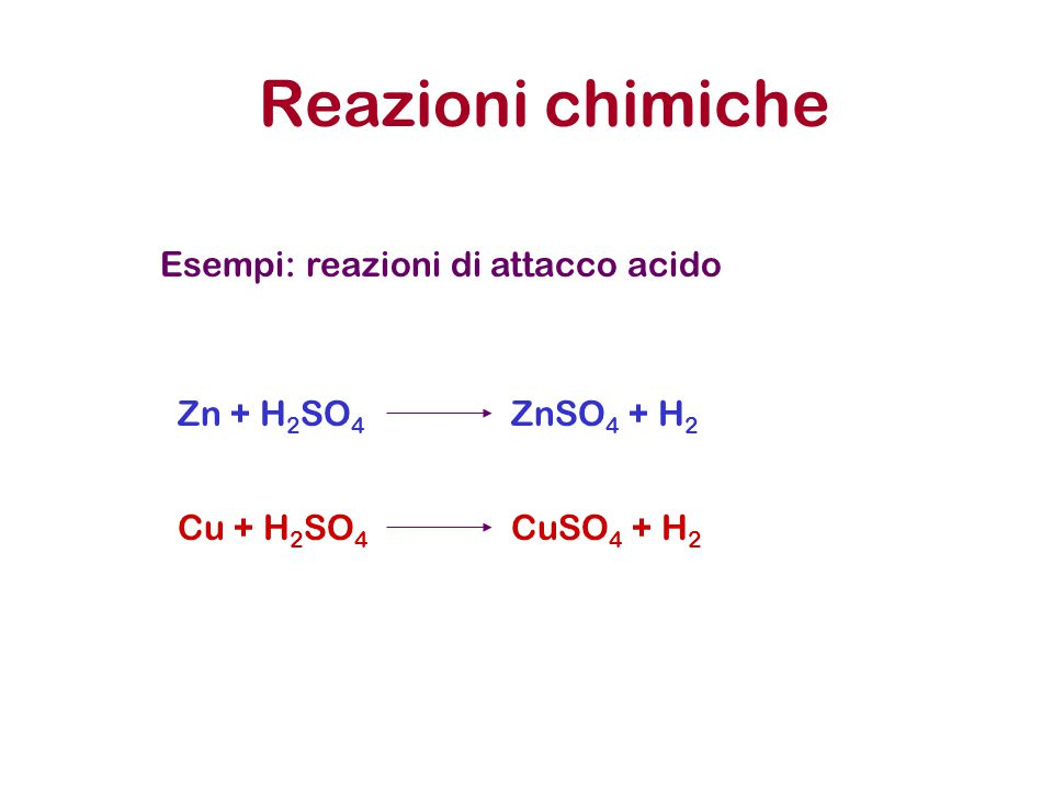 Reazioni chimiche Esempi: reazioni di attacco acido Zn + H2SO4