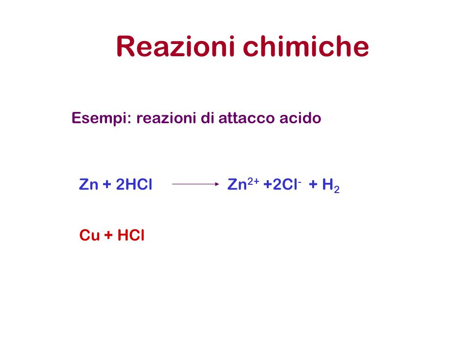 Reazioni chimiche Esempi: reazioni di attacco acido Zn + 2HCl
