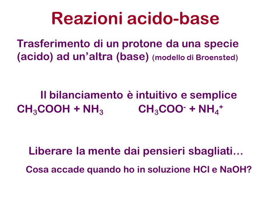 Reazioni acido-base Trasferimento di un protone da una specie (acido) ad un'altra (base) (modello di Broensted)