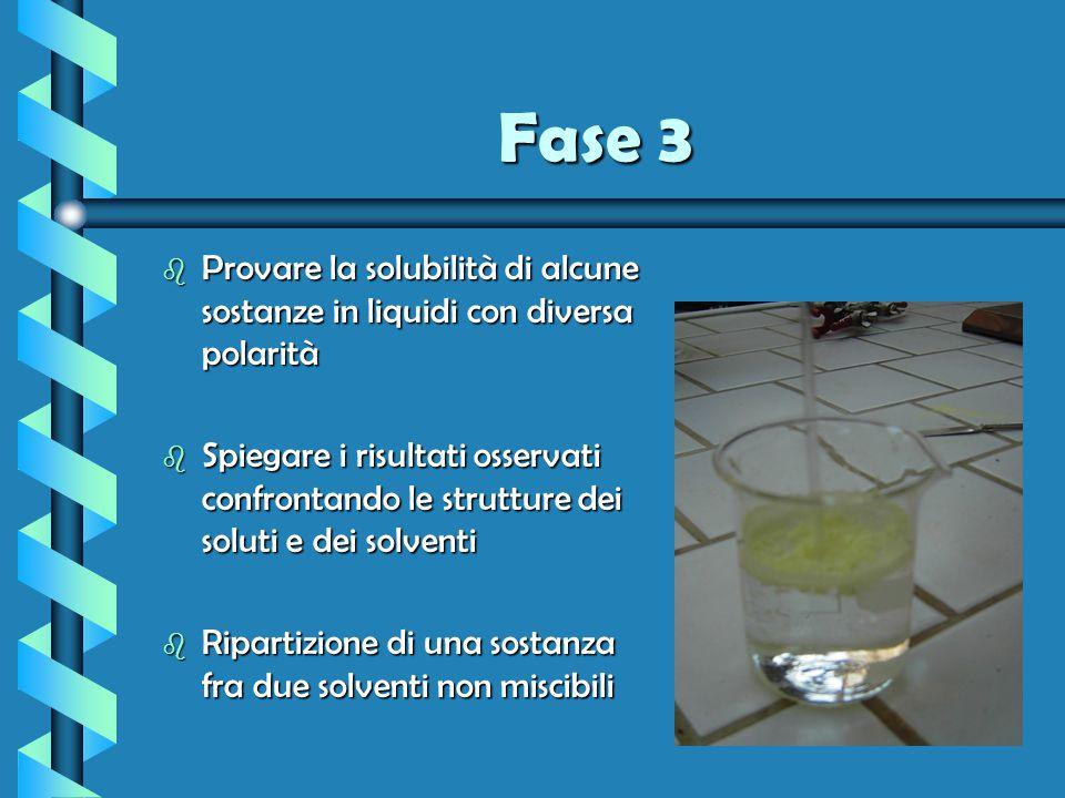 Fase 3 Provare la solubilità di alcune sostanze in liquidi con diversa polarità.