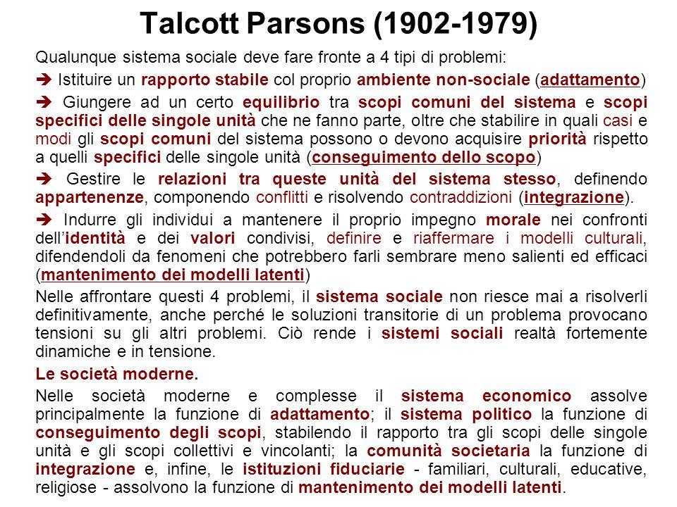 Talcott Parsons (1902-1979) Qualunque sistema sociale deve fare fronte a 4 tipi di problemi: