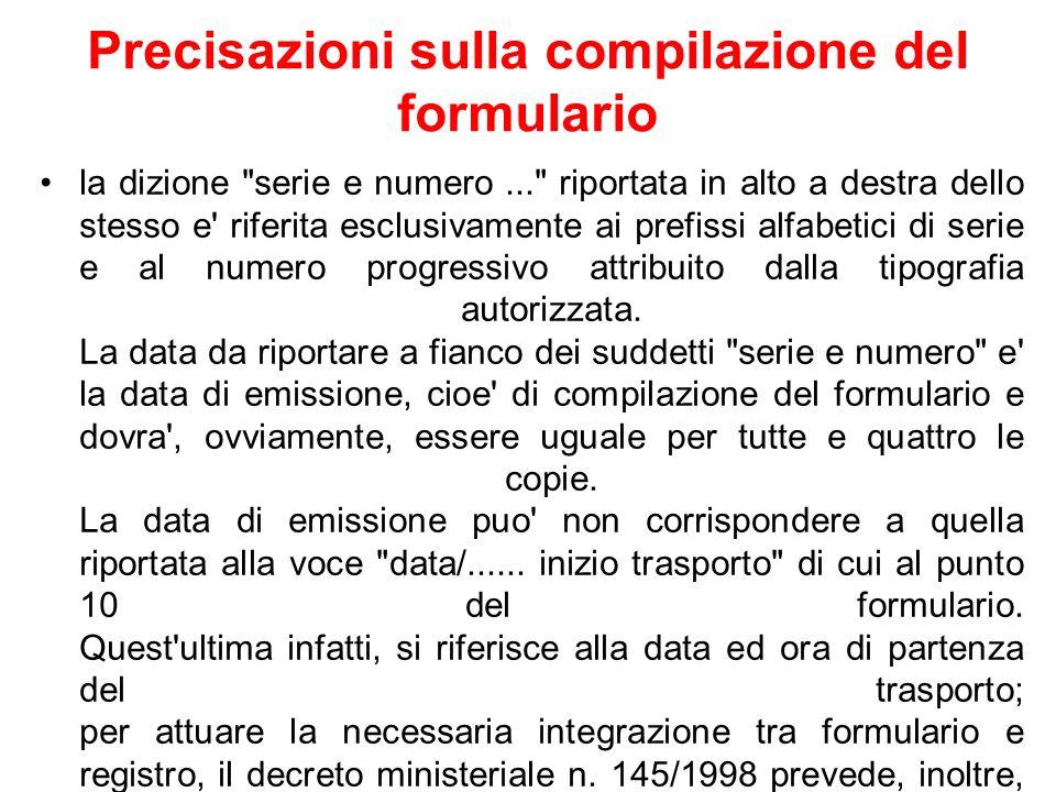 Precisazioni sulla compilazione del formulario