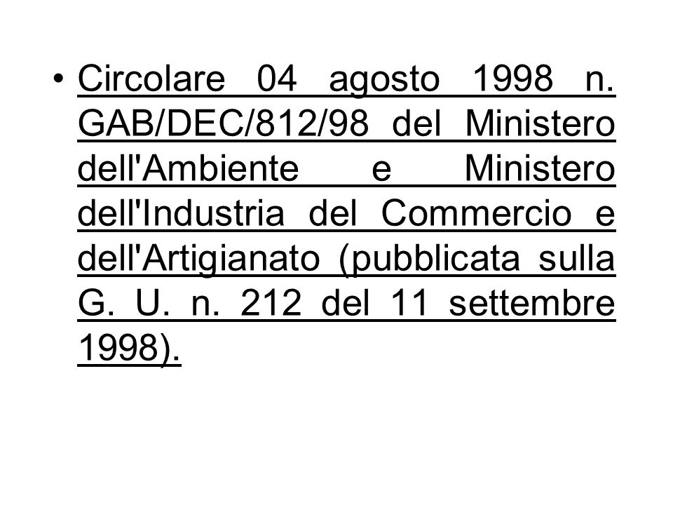Circolare 04 agosto 1998 n.