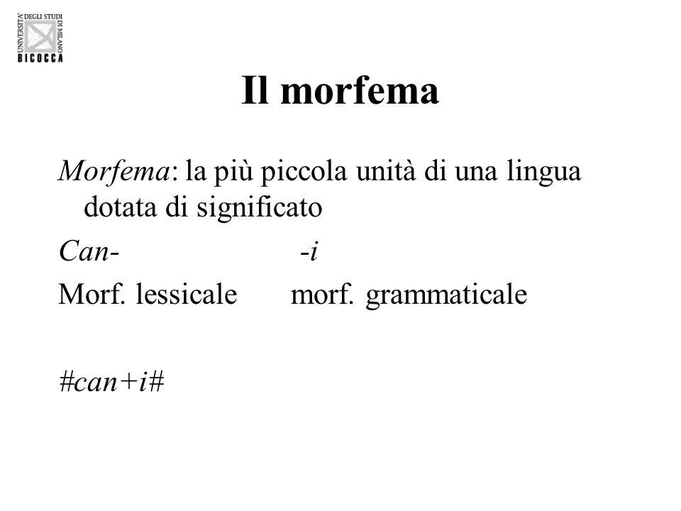 Il morfema Morfema: la più piccola unità di una lingua dotata di significato. Can- -i. Morf. lessicale morf. grammaticale.