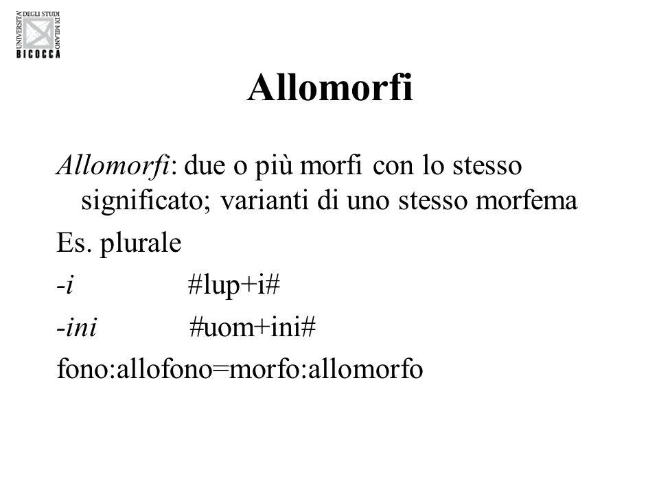Allomorfi Allomorfi: due o più morfi con lo stesso significato; varianti di uno stesso morfema. Es. plurale.