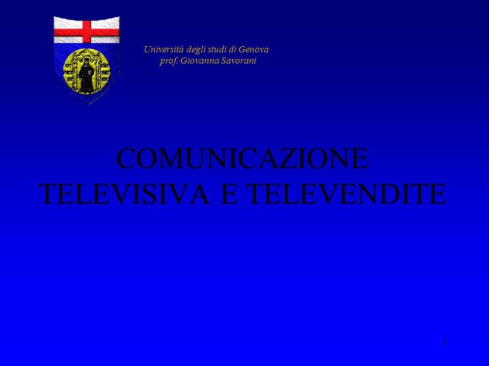 COMUNICAZIONE TELEVISIVA E TELEVENDITE