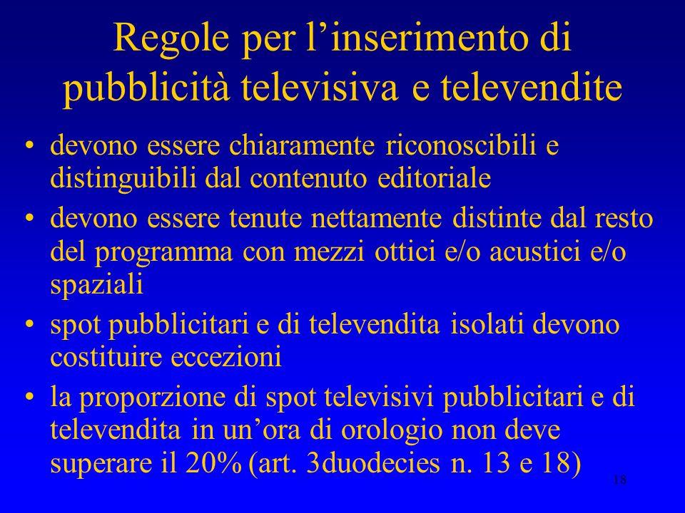 Regole per l'inserimento di pubblicità televisiva e televendite