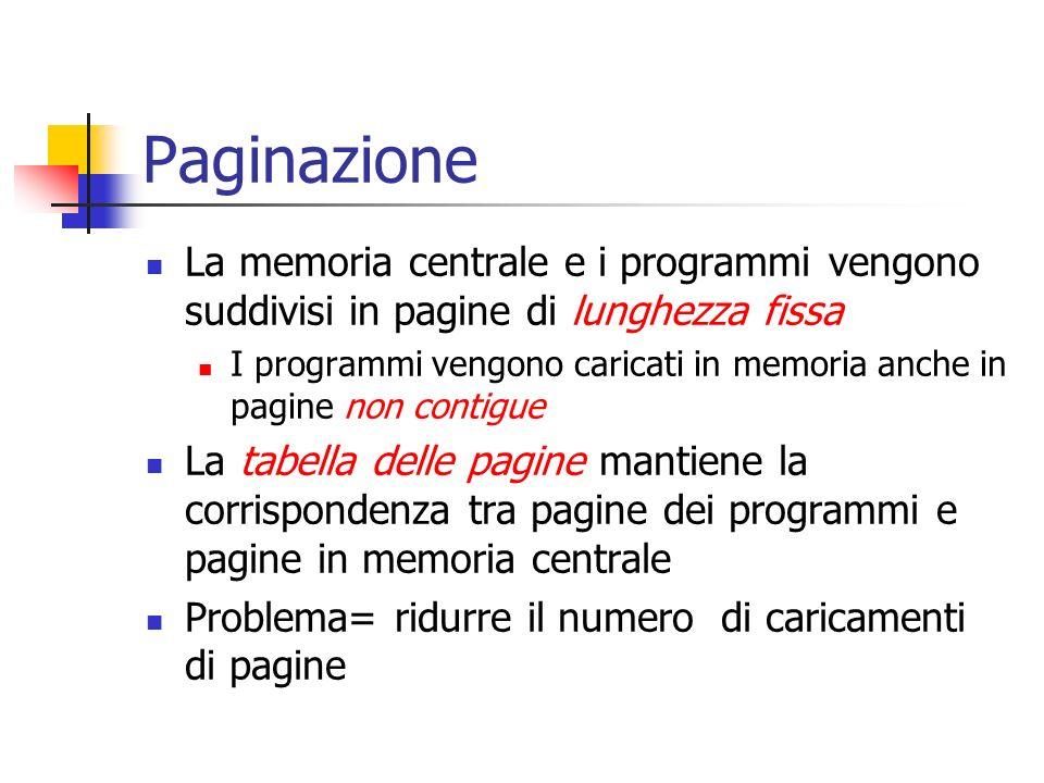 Paginazione La memoria centrale e i programmi vengono suddivisi in pagine di lunghezza fissa.