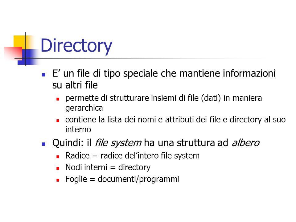 Directory E' un file di tipo speciale che mantiene informazioni su altri file. permette di strutturare insiemi di file (dati) in maniera gerarchica.