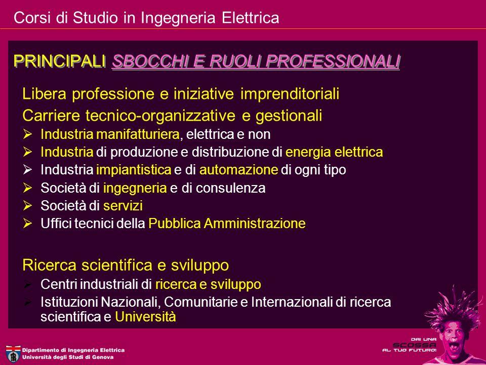 PRINCIPALI SBOCCHI E RUOLI PROFESSIONALI