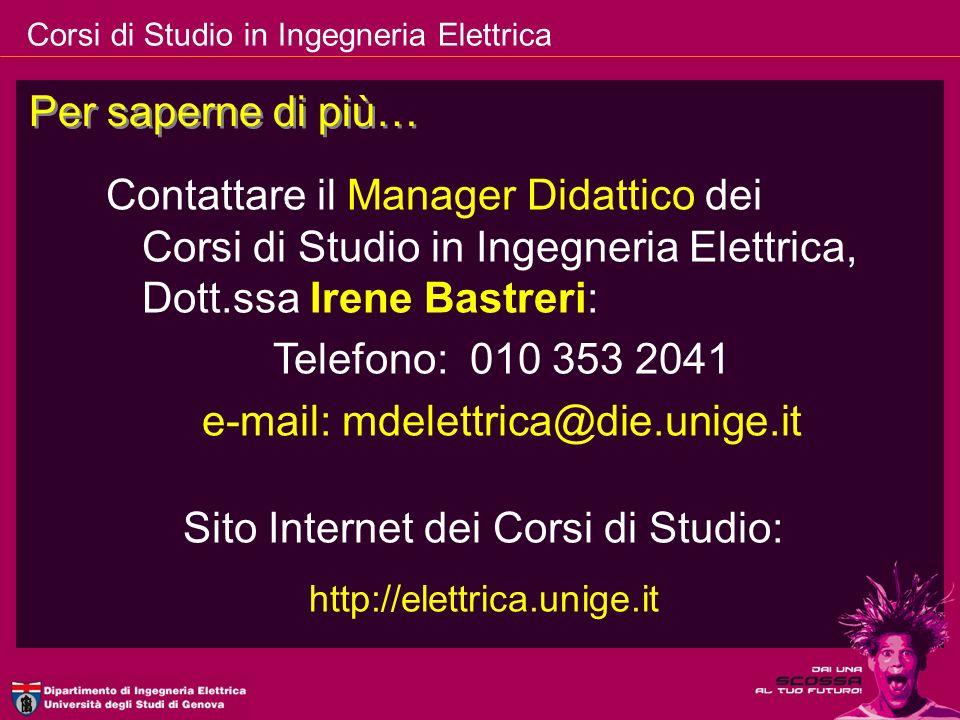 e-mail: mdelettrica@die.unige.it Sito Internet dei Corsi di Studio: