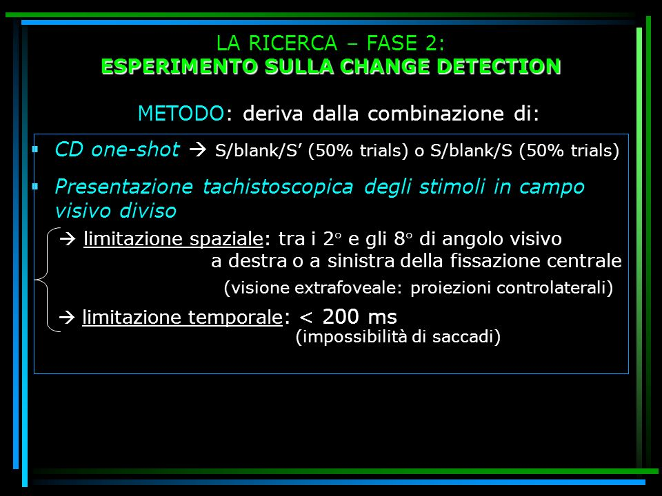 ESPERIMENTO SULLA CHANGE DETECTION