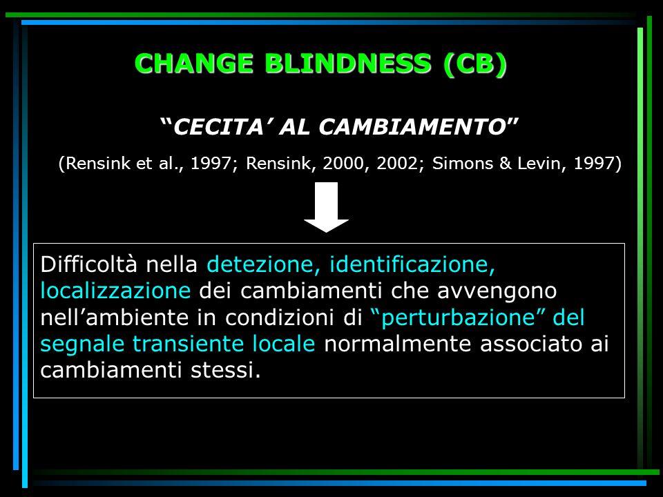 CHANGE BLINDNESS (CB) CECITA' AL CAMBIAMENTO (Rensink et al., 1997; Rensink, 2000, 2002; Simons & Levin, 1997)