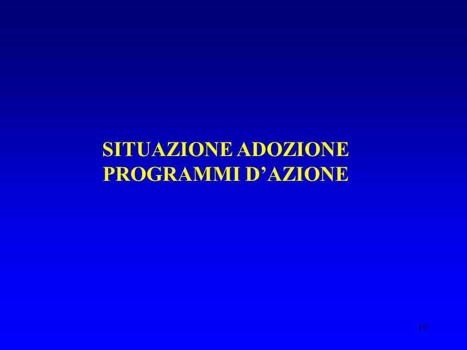 SITUAZIONE ADOZIONE PROGRAMMI D'AZIONE