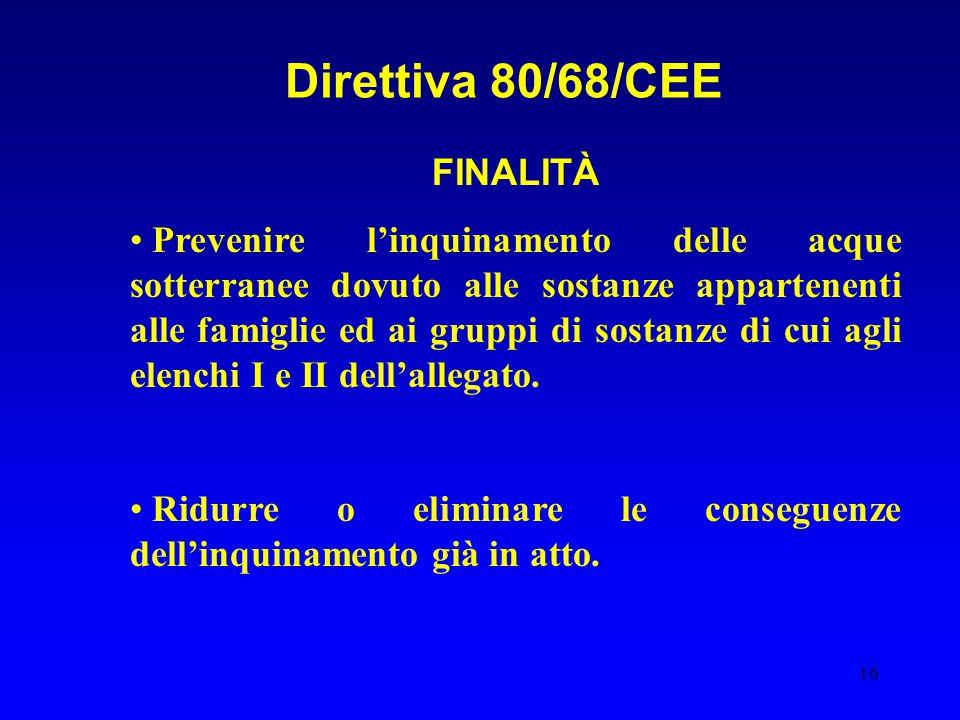 Direttiva 80/68/CEE FINALITÀ