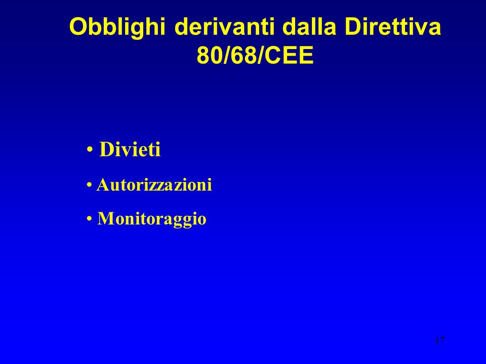Obblighi derivanti dalla Direttiva 80/68/CEE