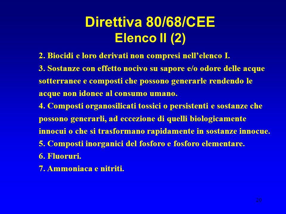 Direttiva 80/68/CEE Elenco II (2)
