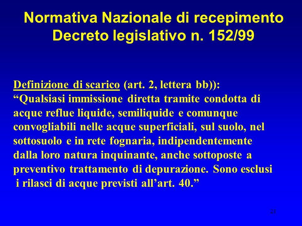 Normativa Nazionale di recepimento Decreto legislativo n. 152/99