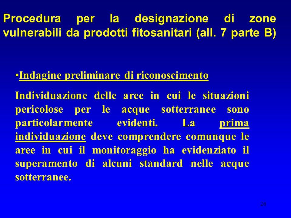 Procedura per la designazione di zone vulnerabili da prodotti fitosanitari (all. 7 parte B)