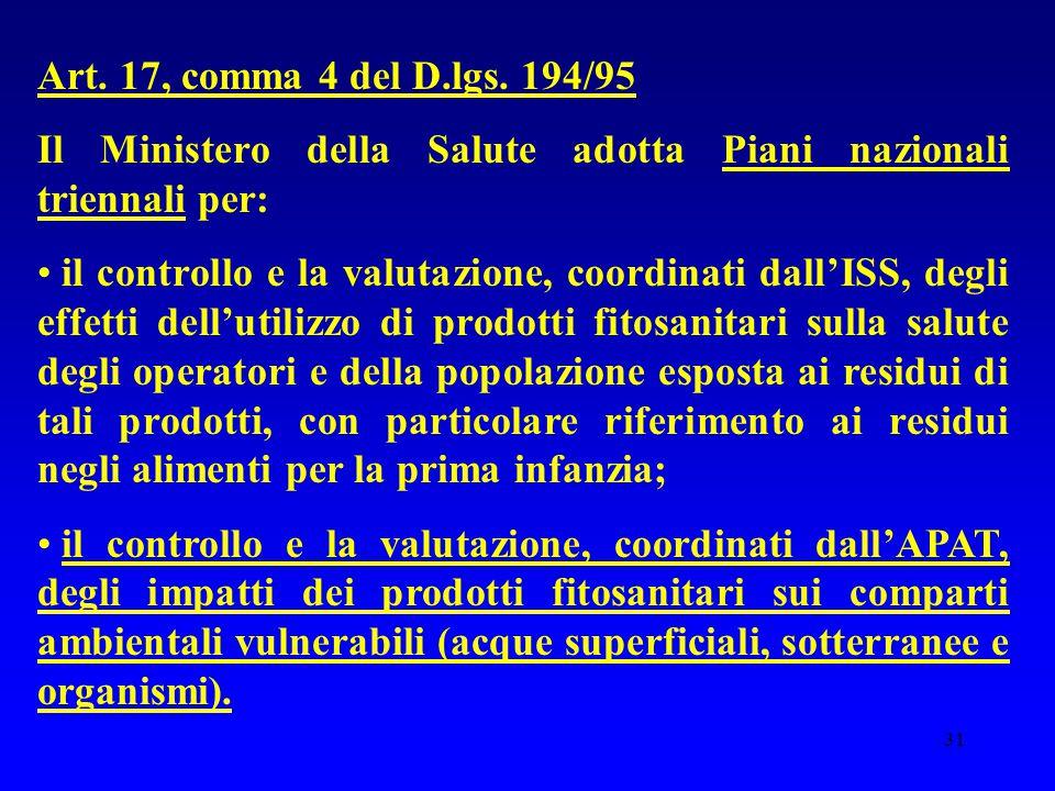 Art. 17, comma 4 del D.lgs. 194/95 Il Ministero della Salute adotta Piani nazionali triennali per: