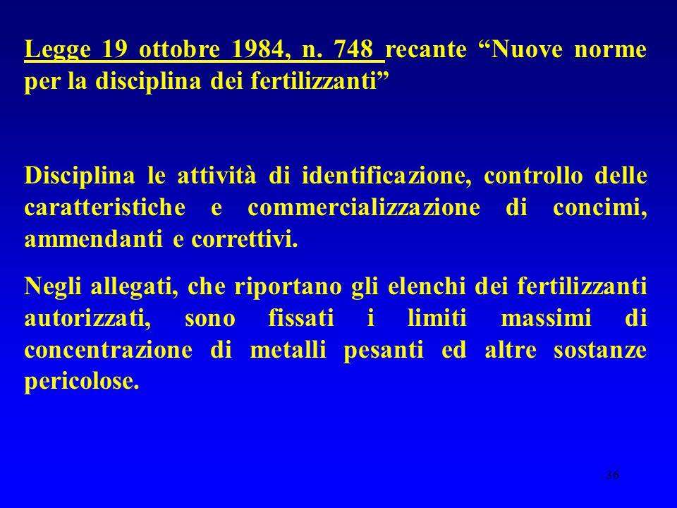 Legge 19 ottobre 1984, n. 748 recante Nuove norme per la disciplina dei fertilizzanti