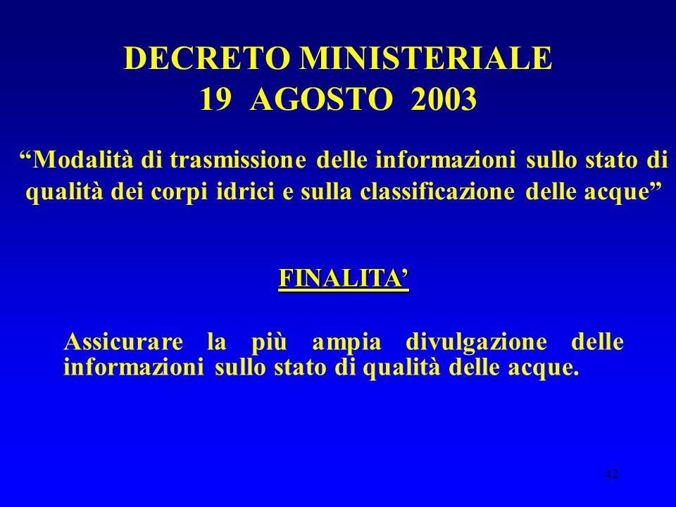 DECRETO MINISTERIALE 19 AGOSTO 2003