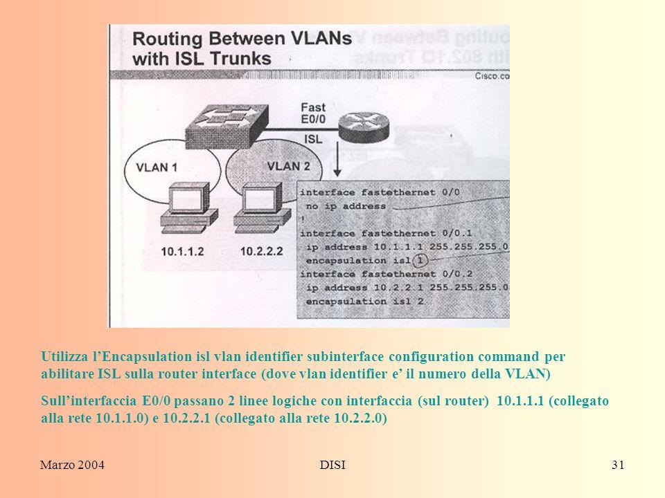 Utilizza l'Encapsulation isl vlan identifier subinterface configuration command per abilitare ISL sulla router interface (dove vlan identifier e' il numero della VLAN)