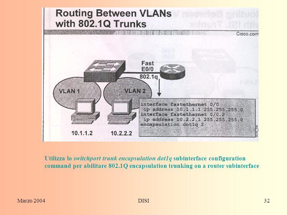 Utilizza lo switchport trunk encapsulation dot1q subinterface configuration command per abilitare 802.1Q encapsulation trunking on a router subinterface