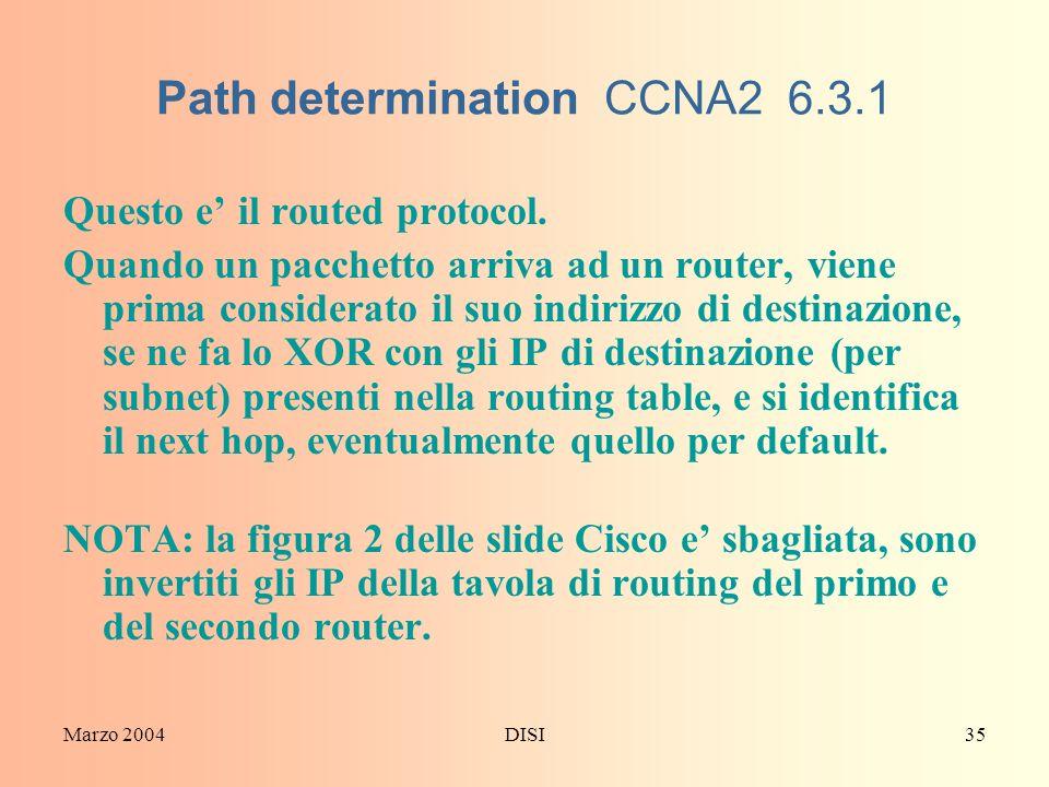 Path determination CCNA2 6.3.1
