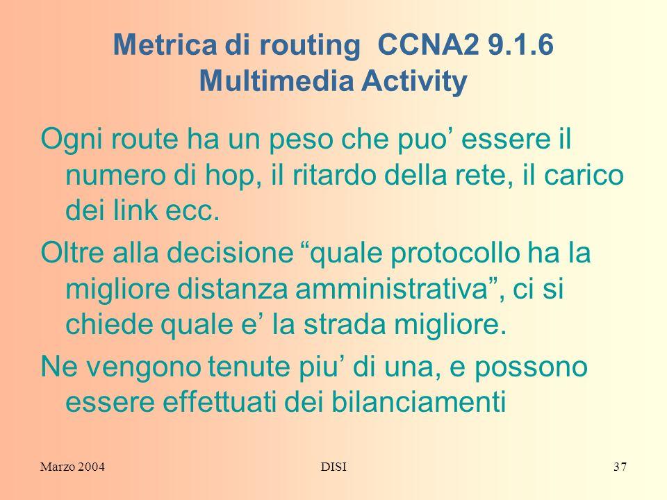 Metrica di routing CCNA2 9.1.6 Multimedia Activity