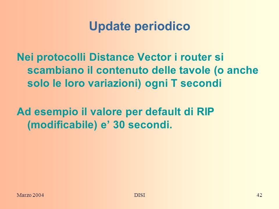 Update periodicoNei protocolli Distance Vector i router si scambiano il contenuto delle tavole (o anche solo le loro variazioni) ogni T secondi.